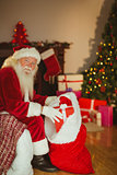 Happy santa claus stocking gifts
