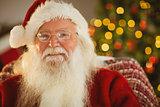 Portrait of happy santa with his glasses