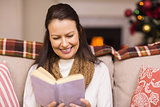 Pretty brunette reading book at christmas time