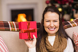 Pretty brunette woman showing christmas gift