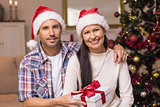 Smiling couple in santa hat holding present