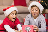 Shocked brother and sister opening a gift