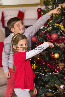 Smiling brother and sister decorating the christmas tree