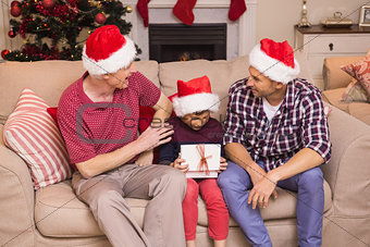 Three generation family celebrating christmas