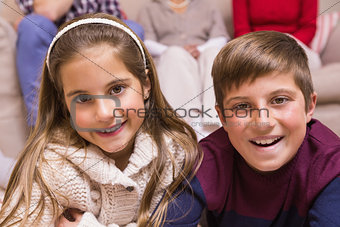 Portrait of smiling brother and sister