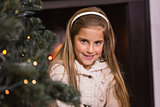 Portrait of a cute little girl at christmas
