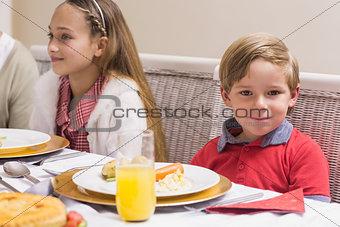 Portrait of little boy during christmas dinner