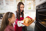 Surprised mother and daughter with roast turkey