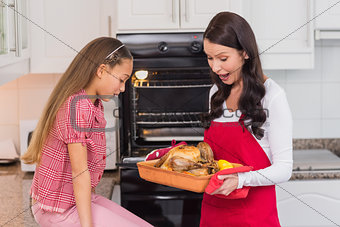 Astonished mother and daughter with roast turkey