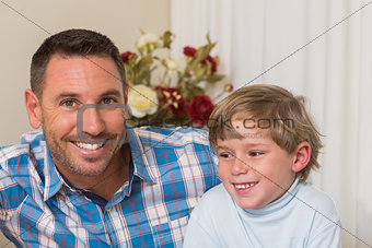 Portrait of smiling father and his son