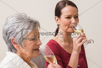 Portrait of women drinking champagne