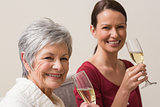 Smiling women holding glass of champagne