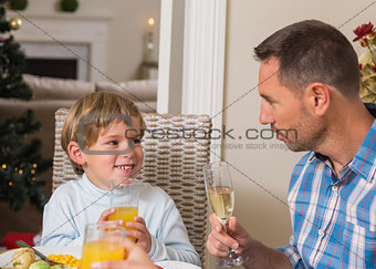 Portrait of father and son holding glass