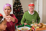 Family in party at christmas dinner