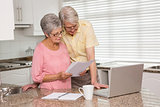 Senior couple paying their bills with laptop