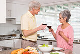 Senior couple preparing lunch together having red wine