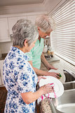Senior couple washing the dishes