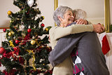 Senior couple hugging beside their christmas tree