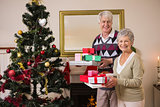 Senior couple swapping gifts by their christmas tree