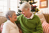 Senior couple relaxing at christmas
