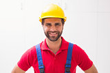 Construction worker smiling at camera