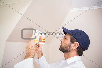 Painter consulting a colour chart