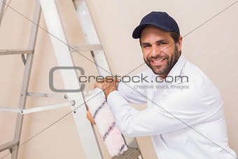 Painter smiling at the camera