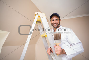 Painter smiling standing on ladder