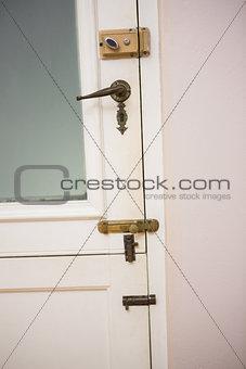 Close up of a closed door