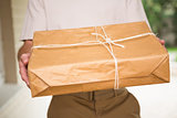 Close up of delivery man giving package