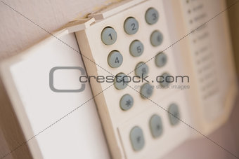 Close up of home security keypad