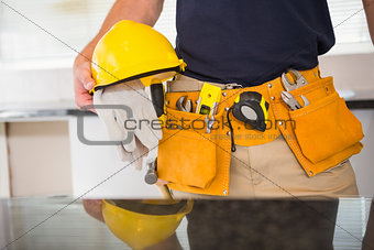 Close up of man with tool belt
