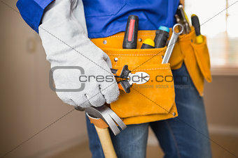 Close up of handyman in tool belt