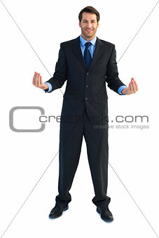Businessman carrying something with his hands