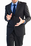 Mid section of a businessman presenting with his hands