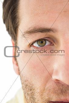 Close up of unsmiling man