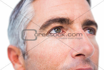 Close up of a man with grey hair