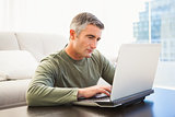 Concentrated man with grey hair using laptop