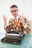 Happy vintage man with glasses gesturing