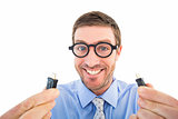 Geeky businessman holding two cables
