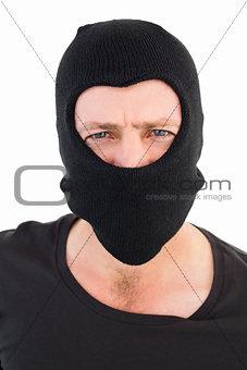 Man in balaclava looking at camera