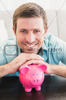 A man with a piggy bank