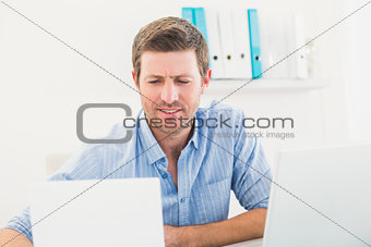 A businessman reading document