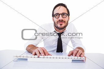 Business worker with reading glasses on computer