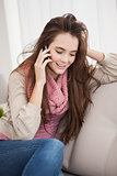 Pretty brunette on the phone