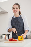 Pretty brunette slicing vegetables at the counter