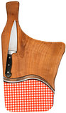 Cutting Board with Knife and Tablecloth
