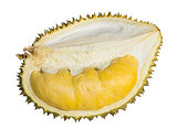 Close up of peeled durian isolated on white background