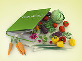 Fresh Vegetables and cooking book