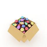 Cardboard box and Christmas balls